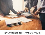 buyer and brokers show small... | Shutterstock . vector #795797476