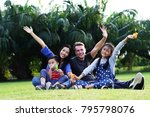 happy family time   the parents ... | Shutterstock . vector #795798076