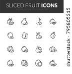 outline black icons set in thin ... | Shutterstock .eps vector #795805315