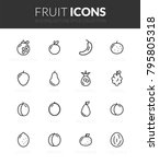 outline black icons set in thin ... | Shutterstock .eps vector #795805318