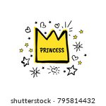 princess. vector cartoon sketch ... | Shutterstock .eps vector #795814432