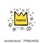 princess. vector cartoon sketch ... | Shutterstock .eps vector #795814432