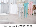 clothes hanging on laundry line ... | Shutterstock . vector #795816922