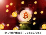 bitcoin in a soap bubble ... | Shutterstock . vector #795817066