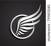 3d silver wing circle logo   Shutterstock .eps vector #795823282