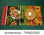 russian festive table | Shutterstock . vector #795825202