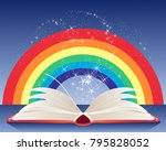 an illustration of a magic book ... | Shutterstock . vector #795828052