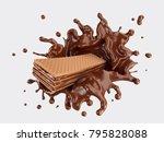 wafers with chocolate splash ...   Shutterstock . vector #795828088