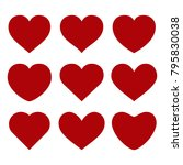 collection of vector red hearts ... | Shutterstock .eps vector #795830038