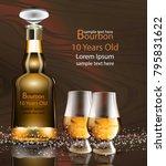 bourbon bottle and glasses... | Shutterstock .eps vector #795831622