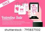 hand holding phone. valentine s ... | Shutterstock .eps vector #795837532
