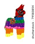 Raster version Illustration of a pinata Mexican party icon. - stock photo