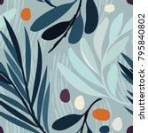 seamless vector pattern. floral ... | Shutterstock .eps vector #795840802