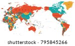 world map color detailed   asia ... | Shutterstock .eps vector #795845266