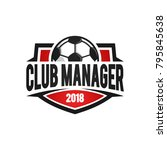 football club manager red logo... | Shutterstock .eps vector #795845638