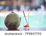 beach bar coctail drinks ... | Shutterstock . vector #795847792