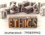 ethics word   text  in... | Shutterstock . vector #795859942