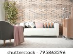 comfortable sofa with pillows... | Shutterstock . vector #795863296