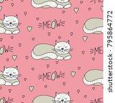 pattern from white sleeping cat ... | Shutterstock .eps vector #795864772