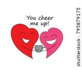 two cute hearts in love. happy... | Shutterstock .eps vector #795879175