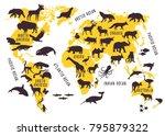 cartoon world map with animals... | Shutterstock .eps vector #795879322