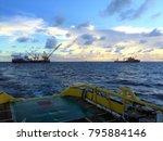 derrick lay vessel working in... | Shutterstock . vector #795884146