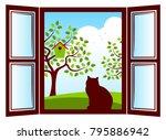 vector cat in the window and... | Shutterstock .eps vector #795886942
