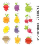 set of fruits and vegetables.... | Shutterstock .eps vector #79588768