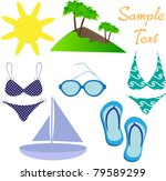 summer beach icons | Shutterstock .eps vector #79589299