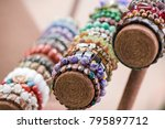 gemstone bracelets and...   Shutterstock . vector #795897712