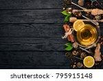 black and green tea with lemon  ... | Shutterstock . vector #795915148