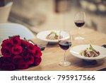 romantic dinner settings. two... | Shutterstock . vector #795917566