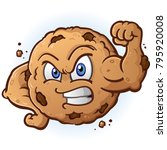tough cookie flexing muscle... | Shutterstock .eps vector #795920008
