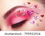 eye make up girl with a heart.... | Shutterstock . vector #795921916