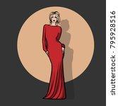 girl in red dress. illustration. | Shutterstock .eps vector #795928516