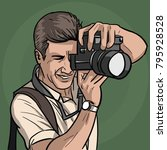 the photographer is at work.... | Shutterstock .eps vector #795928528