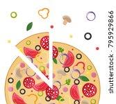 pizzeria concept. slice of pizza | Shutterstock .eps vector #795929866