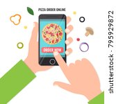 concept of the pizza order... | Shutterstock .eps vector #795929872