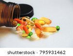 vitamins and supplements on... | Shutterstock . vector #795931462