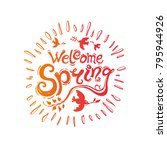 Welcome Spring. Round Template...