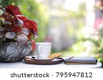 white coffee mug with waffle... | Shutterstock . vector #795947812