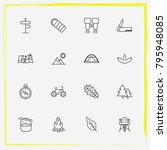 camping line icon set bonfire ... | Shutterstock .eps vector #795948085