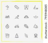 camping line icon set bonfire ... | Shutterstock .eps vector #795948085