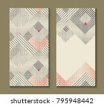 set of cards with art deco... | Shutterstock .eps vector #795948442
