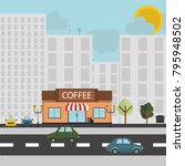 a small coffee shop with a... | Shutterstock .eps vector #795948502