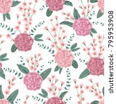 seamless pattern with carnation ... | Shutterstock .eps vector #795953908