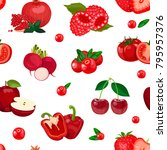 seamless pattern of red berries ... | Shutterstock .eps vector #795957376