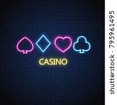 neon casino sign. poker ... | Shutterstock .eps vector #795961495