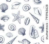 seashells vector seamless... | Shutterstock .eps vector #795963628