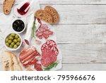 salami  sliced ham  sausage ... | Shutterstock . vector #795966676